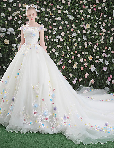 De Baile Ombro a Ombro Cauda Catedral Renda / Organza / Tule Vestidos de casamento feitos à medida com Renda / Flor de LAN TING Express