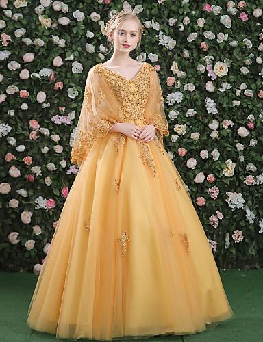 7fb82c65e80 Βραδινή τουαλέτα Πριγκίπισσα Λαιμόκοψη V Μακρύ Δαντέλα Σατέν Τούλι Με  πούλιες Επίσημο Βραδινό Φόρεμα με Χάντρες Πούλιες Δαντέλα Εφαρμοστό 5794593  2019 – ...