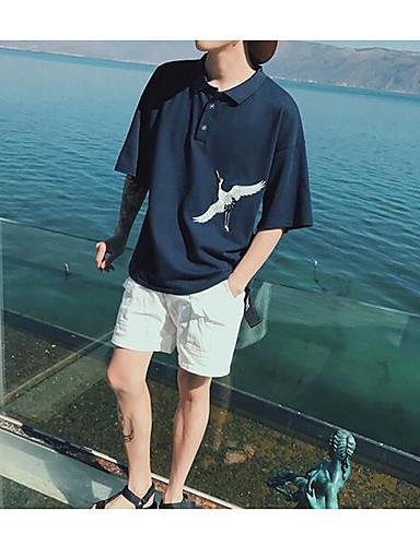 남성 솔리드 프린트 셔츠 카라 짧은 소매 셔츠,심플 캐쥬얼/데일리 면 여름 얇음