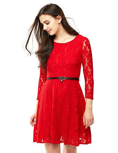 女性用 プラスサイズ Aライン レース ドレス - すかしカット プリーツ, ソリッド