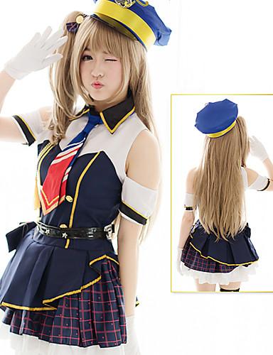 best sneakers 76bd9 63f23 Sailor Lolita Dress Women s Girls  Dress Cosplay Ink Blue Short Sleeve Short    Mini Costumes