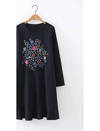 여성 루즈핏 시프트 티셔츠 드레스 캐쥬얼/데일리 데이트 단순한 스트리트 쉬크 플로럴 자수장식,라운드 넥 무릎길이 무릎 위 긴 소매 실크 면 여름 가을 중간 밑위 약간의 신축성 중간