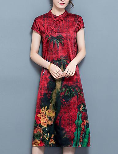 여성 루즈핏 드레스 데이트 플러스 사이즈 빈티지 시누아즈리 프린트,스탠드 미디 짧은 소매 실크 폴리에스테르 여름 중간 밑위 약간의 신축성 중간