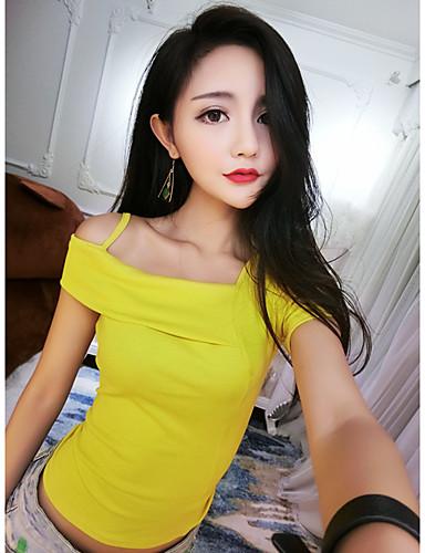 여성 솔리드 보트넥 짧은 소매 티셔츠,섹시 비치 클럽 면