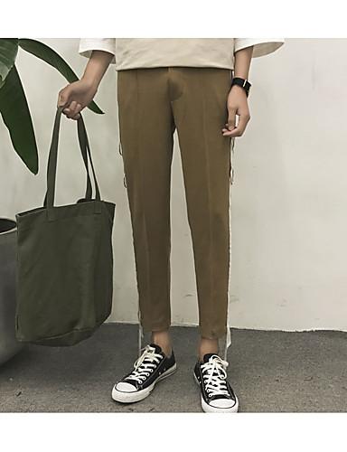 Dámské Jednoduchý Mikro elastické Kalhoty chinos Kalhoty Štíhlý Mid Rise Proužky