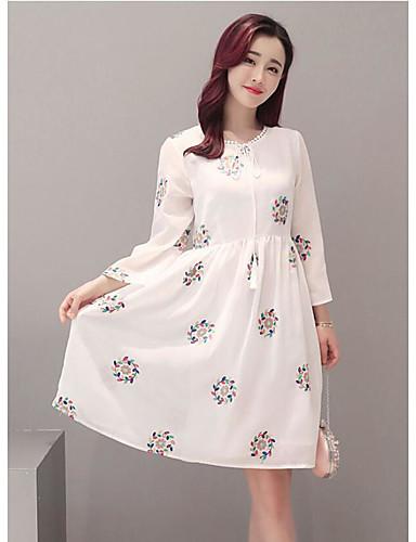 여성 루즈핏 드레스 캐쥬얼/데일리 심플 도트무늬,라운드 넥 무릎길이 ½ 길이 소매 면 여름 중간 밑위 약간의 신축성 중간