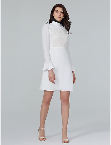 Tubinho Gola Alta Curto / Mini Chiffon Coquetel Vestido com Renda Babados em Cascata de TS Couture®