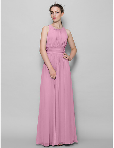 A-Line Scoop Neck Ankle Length Georgette Bridesmaid Dress with Draping Ruched by LAN TING BRIDE®