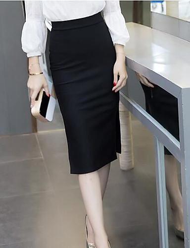 Mulheres Chique & Moderno Algodão Lápis Saias - Sólido Cintura Alta