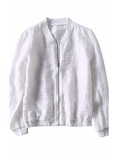 여성 솔리드 스탠드 긴 소매 자켓,단순한 귀여운 캐쥬얼/데일리 보통 린넨 그외 봄