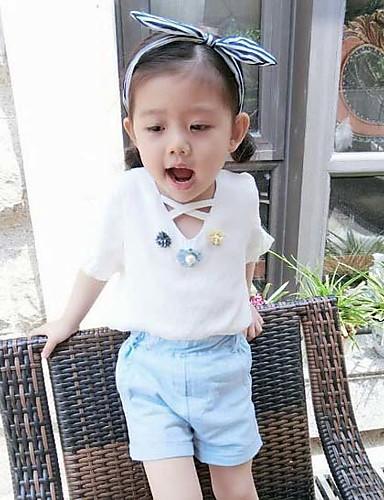 Dívčí Bavlna Jednobarevné Patchwork Léto Soupravy,Krátký rukáv Sady oblečení