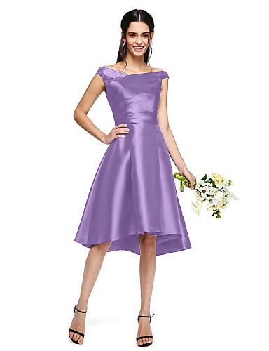 abordables Vestidos de Dama de Honor-Corte en A Hombros Caídos Asimétrica Mikado Vestido de Dama de Honor con Recogido Lateral por LAN TING BRIDE®