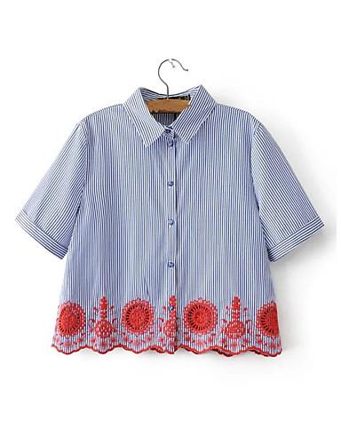 여성 줄무늬 자수장식 셔츠 카라 짧은 소매 셔츠,단순한 섹시 스트리트 쉬크 데이트 캐쥬얼/데일리 면 여름 얇음 중간