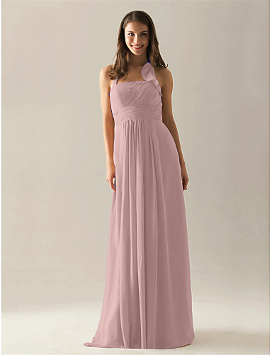 2f47c8d647e1 A-Line Halter Neck Floor Length Chiffon Bridesmaid Dress with Draping    Ruffles   Ruched by LAN TING BRIDE®
