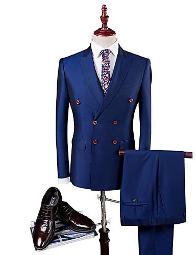 6383dfb37c Azul Sólido Fino Poliéster Viscose Terno - Italiano Comum 4 Botões de  5820448 2019 por  99.99