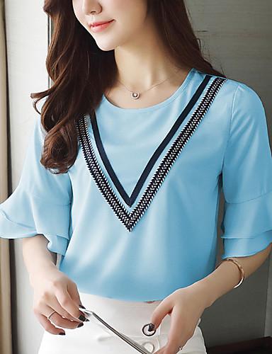 여성 솔리드 라운드 넥 셔츠,심플 귀여운 데이트 캐쥬얼/데일리 폴리에스테르 여름 중간