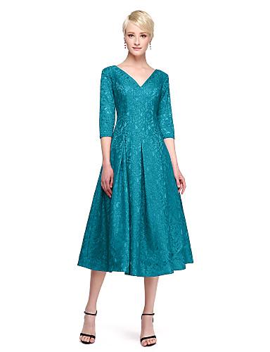 Ballkleid V-Ausschnitt Tee-Länge Spitze Brautjungfernkleid mit Spitze durch LAN TING BRIDE®