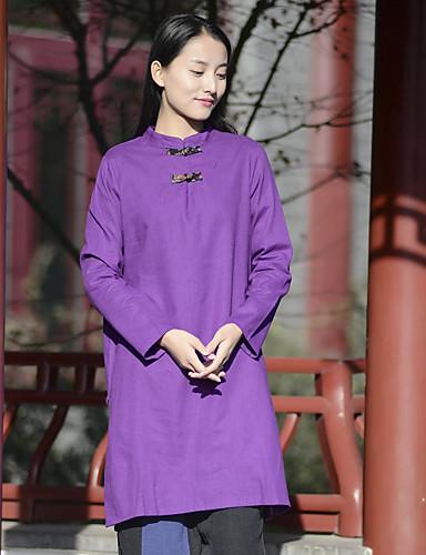 여성 솔리드 스탠드 긴 소매 셔츠,심플 캐쥬얼/데일리 폴리에스테르 나일론