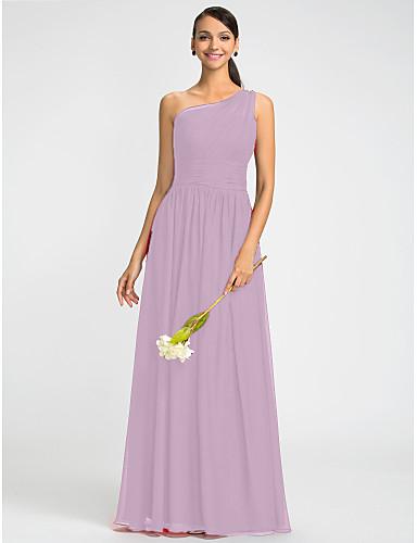 6a947c8641d2 A tubino Monospalla Lungo Chiffon Vestito con Perline   Fascia   fiocco in  vita   Drappeggio di lato di LAN TING BRIDE®
