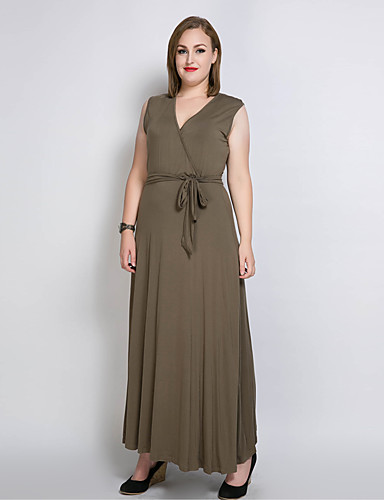 84882c7b4252f Women s Plus Size Party Maxi Swing Dress - Solid Colored   Leopard V Neck  Cotton Black Pink Army Green XXXXL XXXXXL XXXXXXL