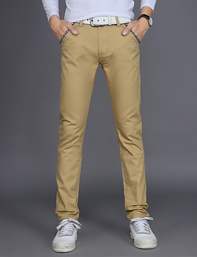 abordables $15-$20-Hombre Chic de Calle / Punk & Gótico Tallas Grandes Algodón Delgado / Chinos / Empresa Pantalones - Un Color Azul claro / Trabajo