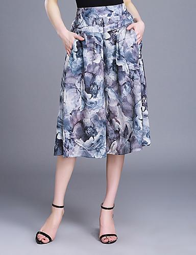 Mulheres Tamanhos Grandes Cintura Alta Perna larga Chinos Calças Estampado Chifon