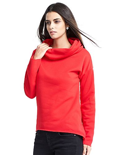 Women's Going out Casual Solid Turtleneck Hoodie Regular, Long Sleeves Fall