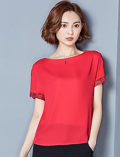 여성 솔리드 프린트 라운드 넥 짧은 소매 블라우스,심플 시누아즈리 캐쥬얼/데일리 홀리데이 그외 여름 얇음
