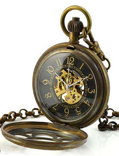 남성용 스켈레톤 시계 회중 시계 기계식 시계 석영 메카니컬 메뉴얼-윈딩 합금 밴드 브론즈
