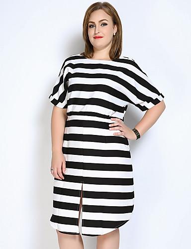 مفصول, مخطط بلوك ألوان - فستان فضفاض متناوب أسود وأبيض قياس كبير للمرأة