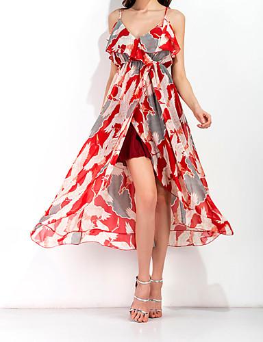 Mulheres Chifon Vestido Floral Com Alças