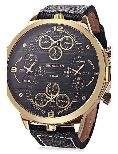 Homens Relógio Esportivo / Relógio Militar / Relógio de Pulso Chinês Calendário / Criativo / Três Fusos Horários Couro Legitimo Banda Amuleto / Luxo / Vintage Preta / Aço Inoxidável