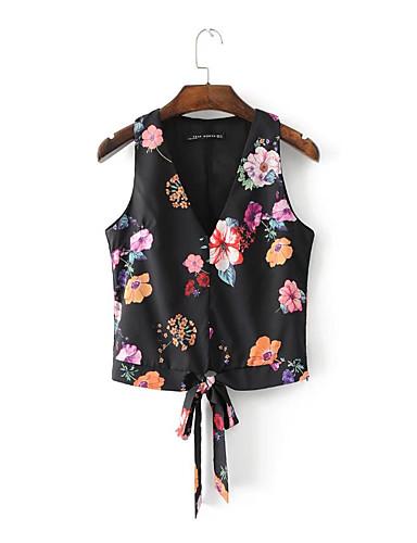 여성 플로럴 라운드 넥 민소매 티셔츠,단순한 섹시 스트리트 쉬크 데이트 캐쥬얼/데일리 면 여름 얇음 중간