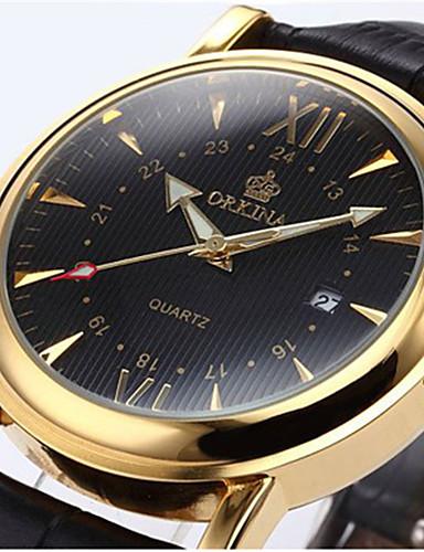 Homens Relógio de Pulso Chinês Venda imperdível Couro Banda Amuleto / Fashion Preta