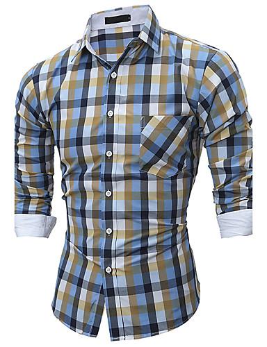 Homens Camisa Social Xadrez Algodão Colarinho Clássico