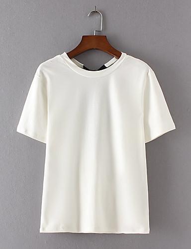 Damen Solide Einfach Sexy Street Schick Ausgehen Lässig/Alltäglich T-shirt,Rundhalsausschnitt Sommer Kurzarm Baumwolle Dünn Mittel