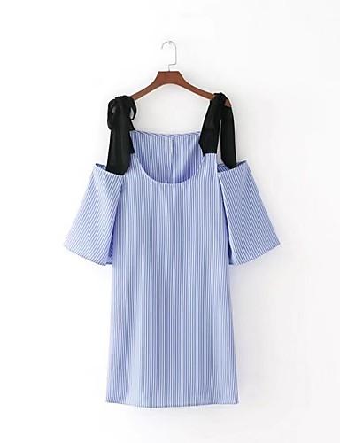 Damen Lose Etuikleid Kleid Einfach Street Schick Gestreift Einfarbig Gurt Übers Knie Ärmellos Seide Baumwolle Sommer Herbst Mittlere