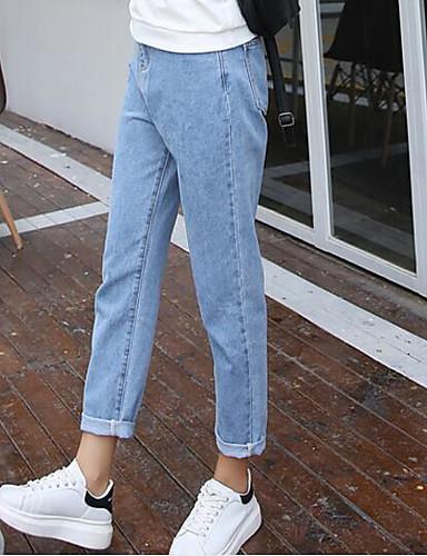 Damen Einfach Mittlere Hüfthöhe Unelastisch Jeans Schlank Hose einfarbig