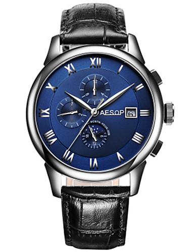 Herren Modeuhr Mechanische Uhr Automatikaufzug Leder Band Schwarz