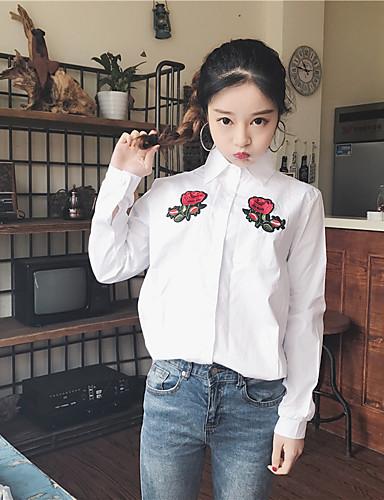 Damen Solide Stickerei Einfach Lässig/Alltäglich Hemd,Hemdkragen Langarm Baumwolle