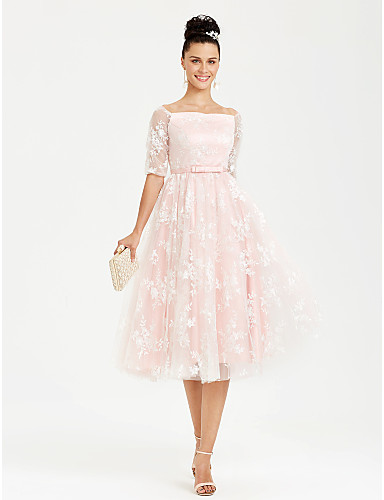 Princess Boat Neck / Bateau Neck Tea Length Lace / Satin Lace Up Cocktail Party / Prom Dress with Bow(s) / Sash / Ribbon by TS Couture® / Illusion Sleeve