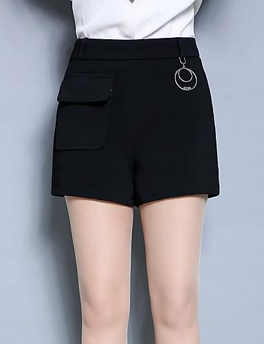 Damen Einfach Hohe Hüfthöhe Mikro-elastisch Kurze Hosen Schlank Hose,Reine Farbe Geschlitzt Pailletten einfarbig