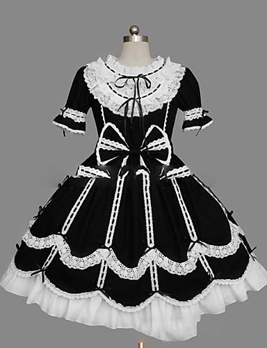 huge discount 8e3c2 931d6 Princess Gothic Lolita Dress Ruffle Dress Women s Girls  Dress Cosplay Black  Ball Gown Cap Sleeve Short Sleeve Short   Mini Plus Size Customized Costumes