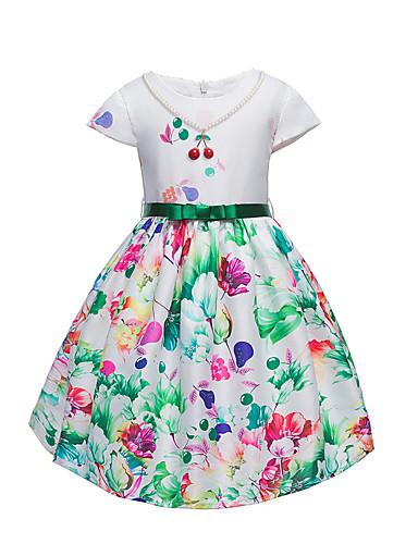 Dívka je Bavlna Polyester Květinový Šaty, Krátký rukáv Květinový Bílá