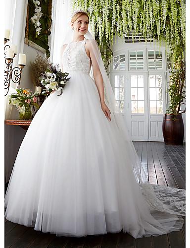 גזרת A בטו צוואר שובל סוויפ \ בראש תחרה טול שמלת חתונה עם חרוזים אפליקציות על ידי LAN TING BRIDE®
