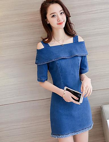 Damen Freizeit Jeansstoff Kleid Solide Mini Gurt / Sommer