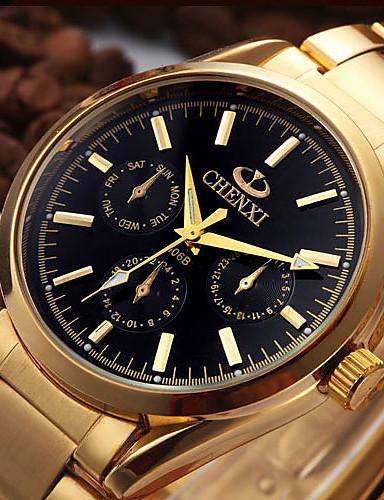 Pánské Hodinky k šatům Módní hodinky japonština Křemenný Kalendář Nerez Kapela Na běžné nošení Cool Zlatá
