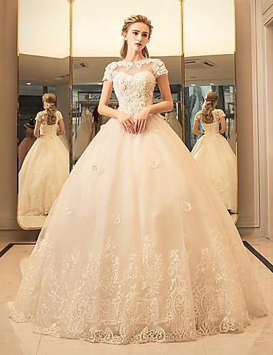 Ballkleid Schmuck Boden-Länge Tüll Hochzeitskleid mit Kristall Applikationen Spitze durch Yuanfeishani
