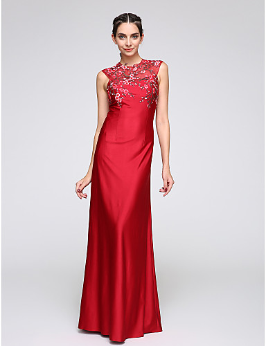 Havfrue Besmykket Gulvlang Jersey Formell kveld Kjole med Appliqué av TS Couture®