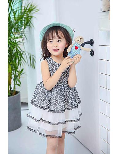 Menina de Vestido Verão Algodão Sem Manga Floral Com Babado Preto
